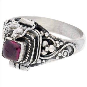Sterling Silver Square Garnet Poison / Locket Ring